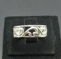 STYLISH STERLING SILVER RING FLOWER LEAF BAND SOLID 925 NEW SIZE H - Z