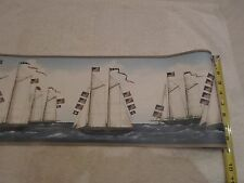 "Historic Walpaper Border 15' x 8.5"" Tall Ships Sailing 13 Star Flag Very Rare!!!"