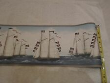 "Historic Walpaper Border 15' x 8.5"" Tall Ships Sailing 13 Star Flag Very Rare!!!"