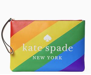Kate Spade Rainbow Pride Large Zip Pouch Wristlet Bag Clutch NWT