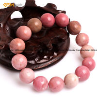 "Natural Rhodonite Stone Beaded Energy Healing Stretch Bracelet 7"" Christmas Gift"