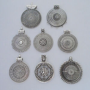 5 Tibetan Silver Tribal Boho Round Charms Pendants for Necklace Jewellery Making