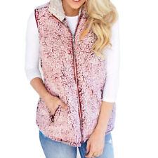 New Type Womens Vest Winter Warm Outwear Casual Faux Fur Zip Up Sherpa Jacket