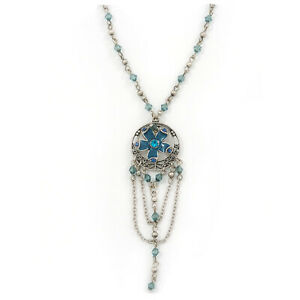 Vintage Inspired Teal Blue Crystal Enamel Floral and Chain Dangle Pendant With