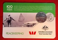 2016 Anzac To Afghanistan 20 Cent Australian Coin Carded Unc. Peacekeeping