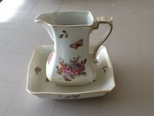 Vintage Lefton Pitcher and Square Bowl Handpainted Flowers and Butterflies