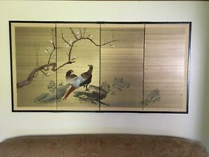 Japanese Byobu Folding Screen Pheasants & Cherry Blossoms - Signed