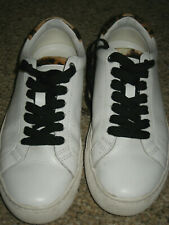 Womens 6 J. Crew white lace up saturday sneaker leather L7197 athletic leopard