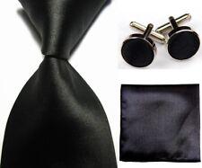New Black Solid Plain Necktie Men's Tie Cufflinks Hanky Handkerchief Set RD407