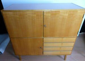 OB20-0049 Highboard 50s midcentury Hochkommode Ahorn- + Kirschfurnier Hi-Board