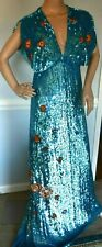 New $2,995 Temperley London Wild Horses Embroidered Long Dress Gown UK 10 / US 6