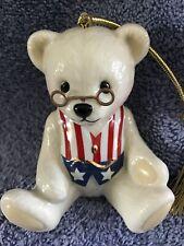 Lenox Teddy Bear Christmas Ornament Americana Flag Vest Patriotic Usa