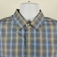 ZACHARY PRELL Mens Gray Blue Plaid Check Dress Button Shirt Sz Large L