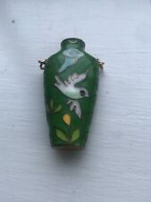 Asian Green Blue Vibrant Enamel Bird Flower Mini Vase Perfume Bottle