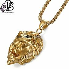 Mens Stainless Steel Necklace Lion Head Pendant w Matching Gold Tone Chain 22""