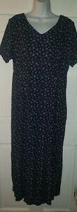 DUO MATERNITY navy Blue purple green Floral Tie Back Midi Dress L