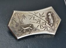Cockatoo Parrot Engraved Brooch / Pin Victorian Solid Silver Unusual Lizard &