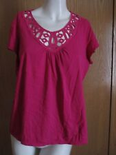 ELEMENTZ DARK PINK TOP W LACE NECK SZ XL