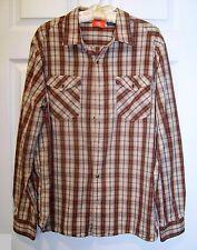 Mens Merrell Shirt Size XL Plaid Brown Tan Orange Beige Gray Long Sleeve