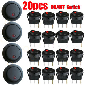 20PCS Round Rocker Switch ON/OFF Illuminated LED Dot 12v 16A Dash Van Car Boat