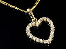 Saphir 16 Zirkonia 333 Gold Herz Anhänger mit Goldkkette mit  synth