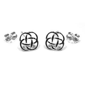 Sterling silver stud earrings celtic knot 8mm across
