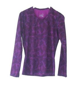 Under Amour Women's HeatGear Purple Printed Long Sleeve Shirt Fitted Size Small