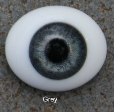 Solid Glass, Flatback Oval Paperweight Eyes - Grey, 22mm