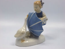 GDR Lippelsdorf Girl with Umbrella and Goose Figurine