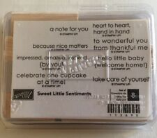 Stampin' Up! SWEET LITTLE SENTIMENTS  Wood UnMounted Rubber Stamp Set of 8