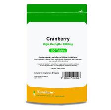 Cranberry Tablets HIGH STRENGTH 5000mg 100/ 365 / 500 - Nordhaus - BULK SAVINGS