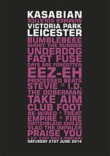 Kasabian Leicester Victoria Park Saturday 21st June Set List Poster 2