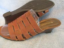 Womens Shoes NATURALIZER PARISIAN Size 8 1/2 M BROWN LEATHER WEDGE SANDALS