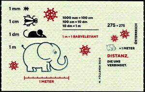 """2020 """"Austria"""" Corona Pandemic, Elephants, Toilet Paper Stamp Souvenir Sheet MNH"""
