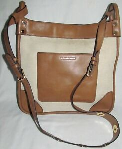 Michael Kors Sullivan North South XL Brown Leather Crossbody Shoulder Bag Tote