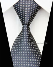 Men Fashion Silk Tie Slim Business Necktie Woven White Black Skinny Ties Men #57