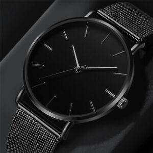 2021 Men's Stainless Steel Mesh Belt Analog Quartz Wrist Watch Business Watches