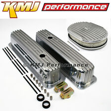 SBC Chevy 5.7L 350 Finned Retro TBI Vortec Aluminum Valve Covers W/ Air Cleaner