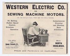 Western Electric Co Sewing Machine Motors - Antique Engineering Advert 1904