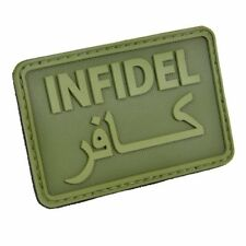 Hazard 4 Olive Green Infidel Patch Morale English Arabic 2x3in Rubber Polymer