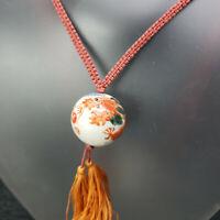 VTG Rare Chinese Porcelain Painted Dragon LARGE Bead Macrame Tassel Necklace