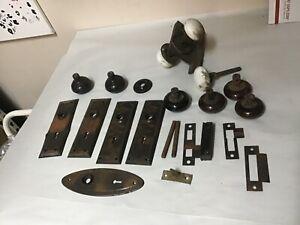 Antique Brass Door Knobs, Glass Corbin  Lock,  plates Architectural Salvage Lot