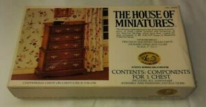 X-Acto House of miniatures Chippendale Chest on Chest Wood Dresser Kit 40009 76'