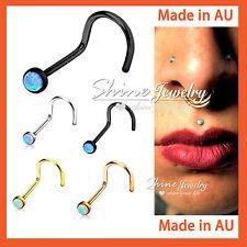 1 x Titanium Surgical Steel Dainty Opal Nose Stud Bone Body Piercing Ring Gift