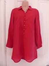 White Stuff size 8 red linen long shirt, buttons, ruffle down front, long sleeve