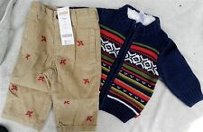 Khaki Pant Set Gymboree 2pc Corduroy Navy Sweater Winter Boy size 3 6 month New