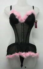 NWT Native Intimates Black Pink Boa Feather Trim Sexy Lingerie sz Small 34 B