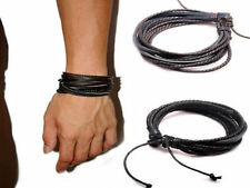 MENS REAL LEATHER BRACELET WRISTBAND SURFER TRIBAL BLACK BROWN Boho Bohemian