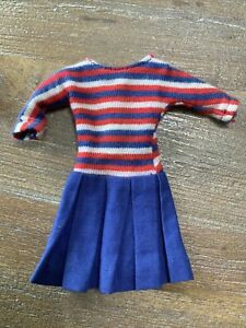 Vintage Skipper #1918 SHIP AHOY -  Red, White & Blue Knit Pleated Skirt Dress