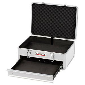 Werkzeugkoffer Werkzeugkiste abschließbar Aluminium-Rahmen 1 Schublade Silber